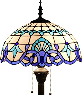 Tiffany Style Floor Standing Lamp 64 Inch Tall White Blue Stained Glass Baroque Shade 2 Light Antique Base for Bedroom Living Room Reading Lighting Table Set S003B WERFACTORY