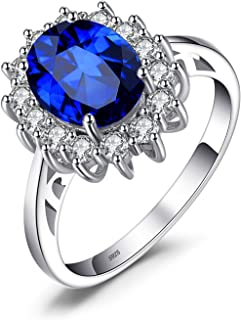 Princess Diana William Kate Middleton Gemstones Birthstone Halo Solitaire Engagement Rings For Women For Girls 925 Sterling Silver Ring