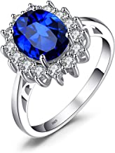 JewelryPalace Princess Diana William Kate Middleton Gemstones Birthstone Halo Solitaire Engagement Rings For Women For Girls 925 Sterling Silver Ring