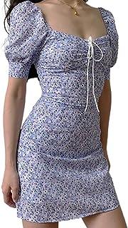 Mini Vestito Estivo da Donna Scollo a Barca Maniche Corte con Stampa Floreale Vestito da Cocktail Casual Sexy Slim Elegante