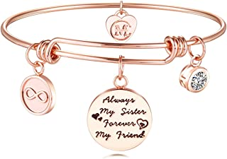 Sister Friend Expandable Charm Inspirational Bangle Bracelets Always My Sister Forever My Friend