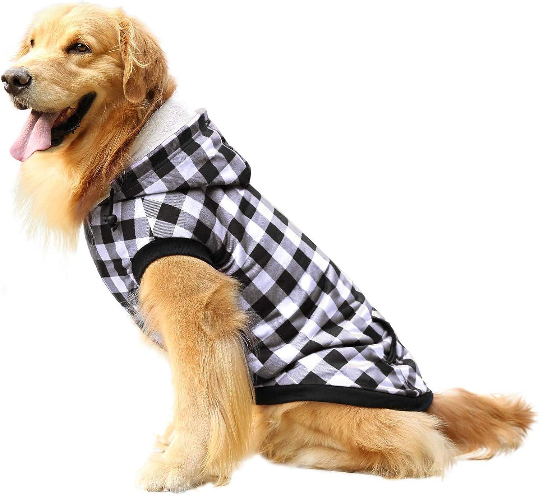 ASENKU Dog Winter Coat sale Fleece Plaid British Hoodie Thicken P Brand Cheap Sale Venue