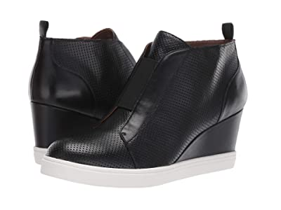 LINEA Paolo Felicia Wedge Sneaker (Black Perforated Nappa) Women