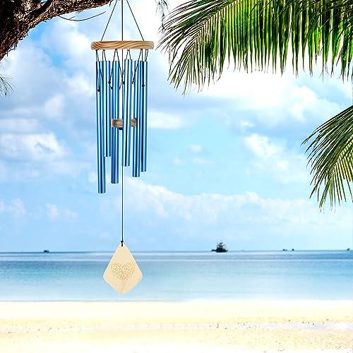 Lemecima Carillon Eolien Cloches Musicales Feng Shui Eoliens pour extérieur Jardin et décoration d'intérieur Cadeau Bleu
