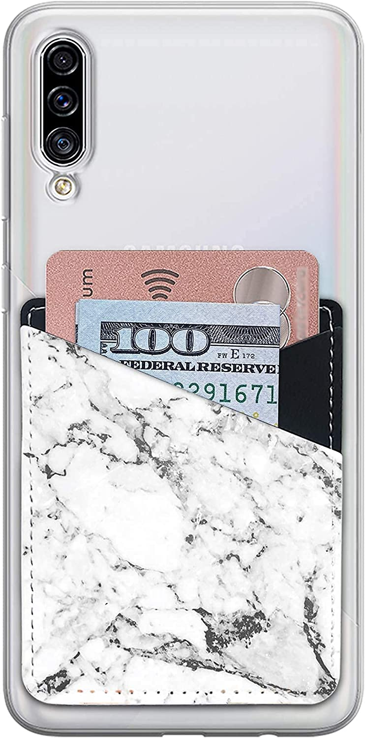 Card Holder for Back of Phone with White and Grey Marble Design, Cell Phone Stick on Card Wallet Sleeve Organizer with 2 Credit Card Slots, Self Adhesive Sticker Case