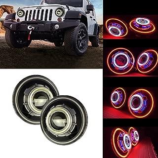 SXMA 7 Inch LED Headlights,LED Projector Headlights with Halo, Angel Eye, Demon Eye Headlights for Jeep Wrangler CJ LJ TJ JK Rubicon Sahara Hummer (Angel Eye Headlights - C)