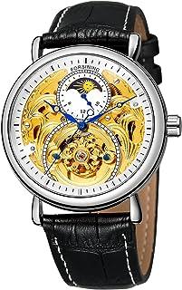 FORSINING Men Automatic Watches Tourbillon Skeleton Watch Moon Phase Wrist Watch Black Leather Strap