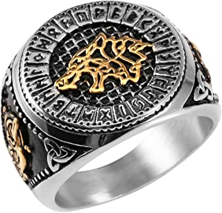 HZMAN Men's Stainless Steel Valknut Viking Viking Odin Rune Wolf Totem Jewelry Ring