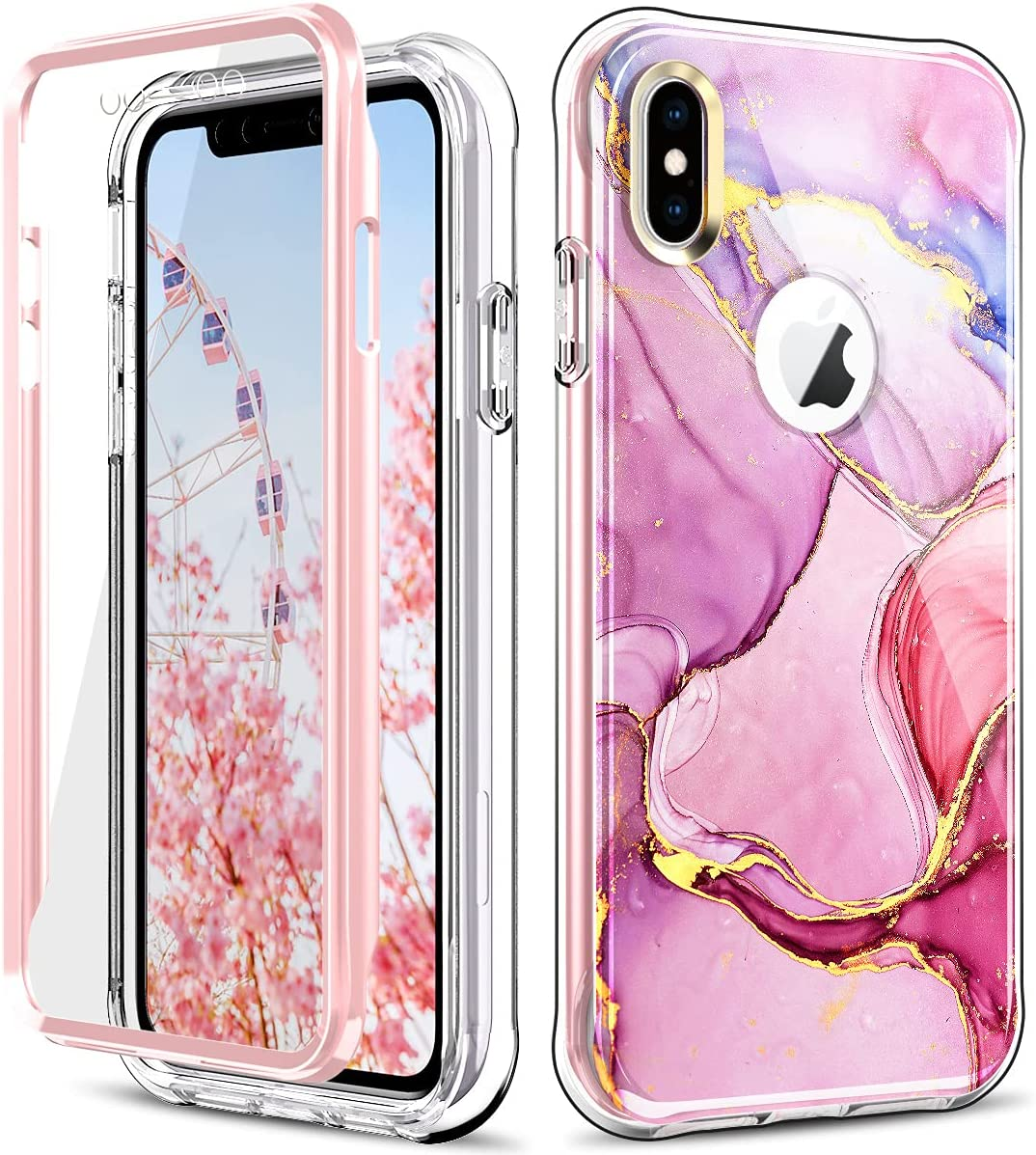 PIXIU Unique Marble Design for iPhone Xs Max Case,Lightweight Dual Layer Full Body Shockproof Protective Case Cover (Built in Screen Protector) for Apple iPhone Xs Max 6.5 inch