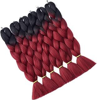 Hairingrid Jumbo Braid Hair Ombre Extension 24inch 6pcs/Lot 100g/pc Synthetic Hair Twist Braiding Hair Crochet Hair for African American Women (R76XM5#)