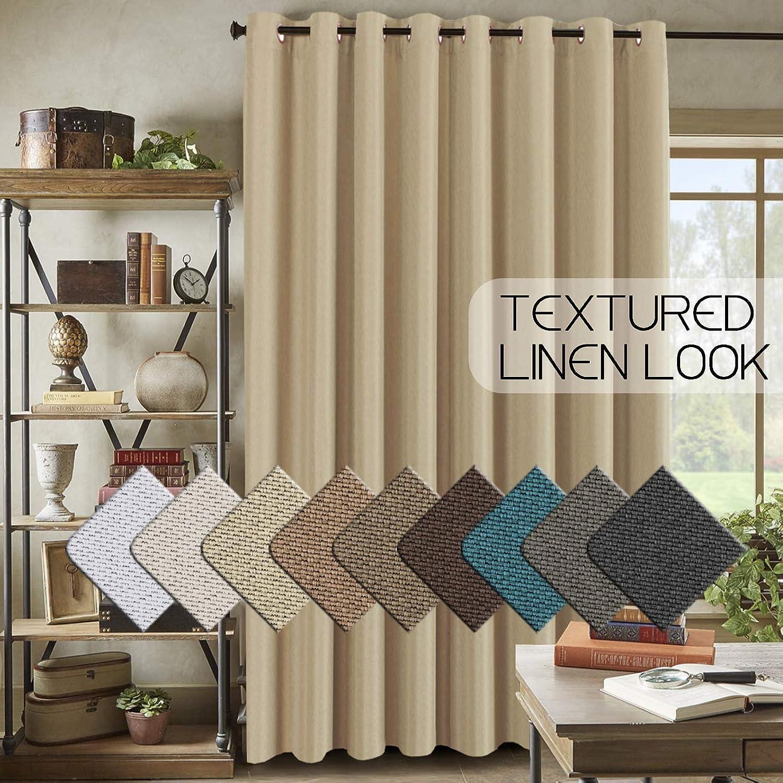 Energy Saving Linen Curtains for Sliding Glass Door (W100  x L84 )- Room Darkening Primitive Linen Large Curtains for Living Room Privacy Blinds for Patio Blackout Extra Wide Linen Curtain - Beige