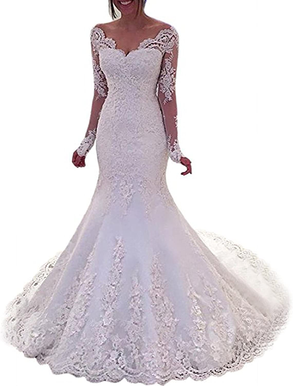Amazon Com Alanre Sheer Lace Satin Bride Gown Long Sleeves Mermaid Wedding Dress Backless Clothing