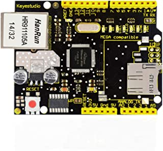 KEYESTUDIO Ethernet Shield W5100 Network Shield Micro-sd Card Slot for Mega 2560, R3, Starter Kit Easily Connects to Inter...