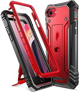 Poetic iphone SE 両面ケース、アップル アイフォンSE 専用 スマホケース2020 耐衝撃、スタンド付、防塵、スクリーン保護付、 iPhone SEミリタリーケース、メタリックレッド