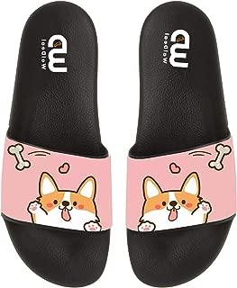 OriginalHeart Cartoon Corgi Dog with Bone Summer Slide Slippers for Men Women Kid Indoor Open-Toe Sandal Shoes