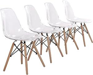 EGGREE Set di 4 Sedie Trasparenti in Policarbonato Sedie da Pranzo Moderne Scandinavo Design Sedia Cucina con Gambe di Legno