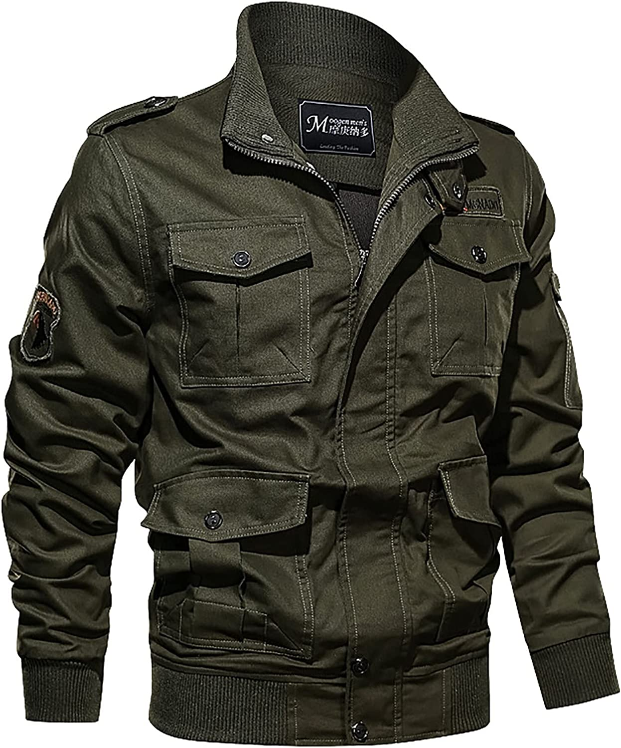 Men's Military Classic Vintage Autumn And Winter Casual Solid Color Tooling Wind Jacket Zipper Coat