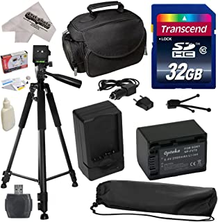 Must Have Accessory Kit for Sony CX110, CX130, CX150, CX160, CX170, CX190, CX200, CX210, CX220, CX230, CX250, CX260, CX260V, CX280, CX290, CX300, CX320, CX330, CX350, CX350V, CX360, CX370, CX370V, CX380, CX390, CX400, CX410, CX430, CX430V, CX510, CX550, CX550V, CX560, CX560V, CX580, CX580V, CX700, CX700V, CX730, CX740, CX760, CX760V, CX900 Video Camera Camcorder Includes - 32GB High-Speed SDHC Card + Card Reader + Opteka NP-FV70 2500mAh Ultra High Capacity Li-ion Battery + AC/DC Rapid Battery