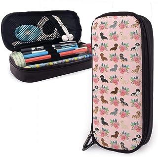 Bassotto vintage fiore portapenne – Astuccio portamatite portatile per cancelleria, grande capacità per penne, matite, pen...
