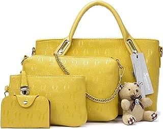 Soperwillton Women Handbag Top Handle Satchel Shoulder Tote Bag Purse Set 4PCS