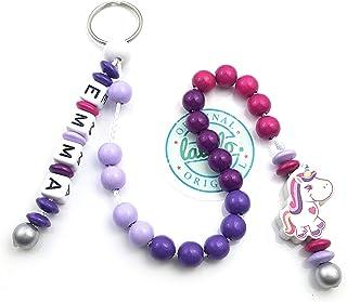 LALALO Mädchen Rechenkette mit Namen, Kette für die Grundschule / Schulanfang, Lernmittel rechnen bis 20 mit Schlüsselring...