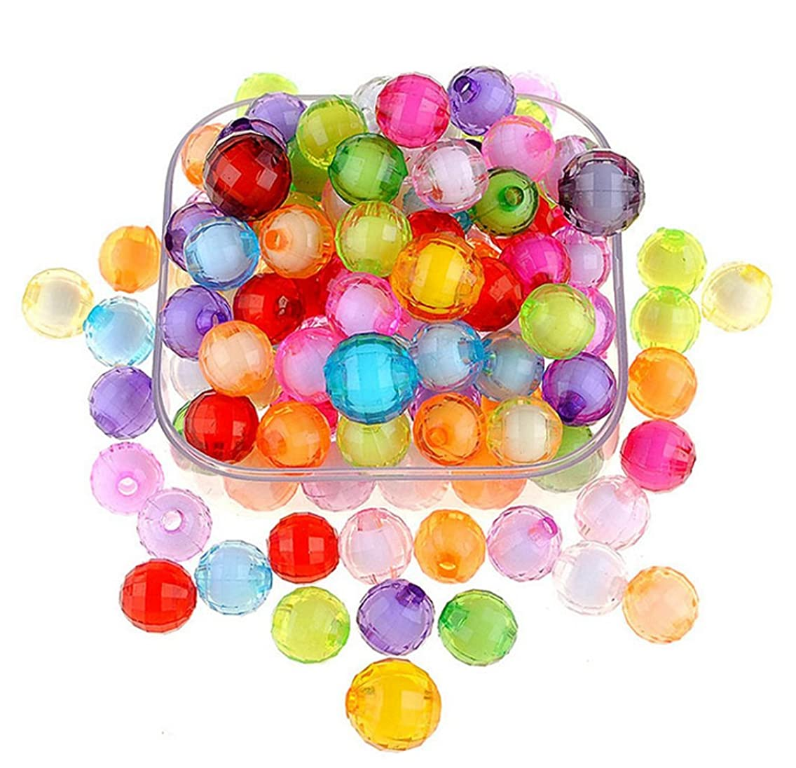240Pcs 10mm Multicolor Faceted Acrylic Round Loose Beads for Children Necklace Bracelet Crafts DIY