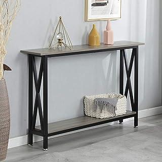 sogesfurniture Table de Console Vintage, Table d'appoint en Bois et métal avec 2 étagères de Rangement pour Entrée, Salon,...