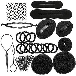 Liebeye 髪ツール ブラックマジックヘアツイストスタイリング装飾 ヘアアクセサリー プレート ヘアツール ドーナツセットキット 12セット