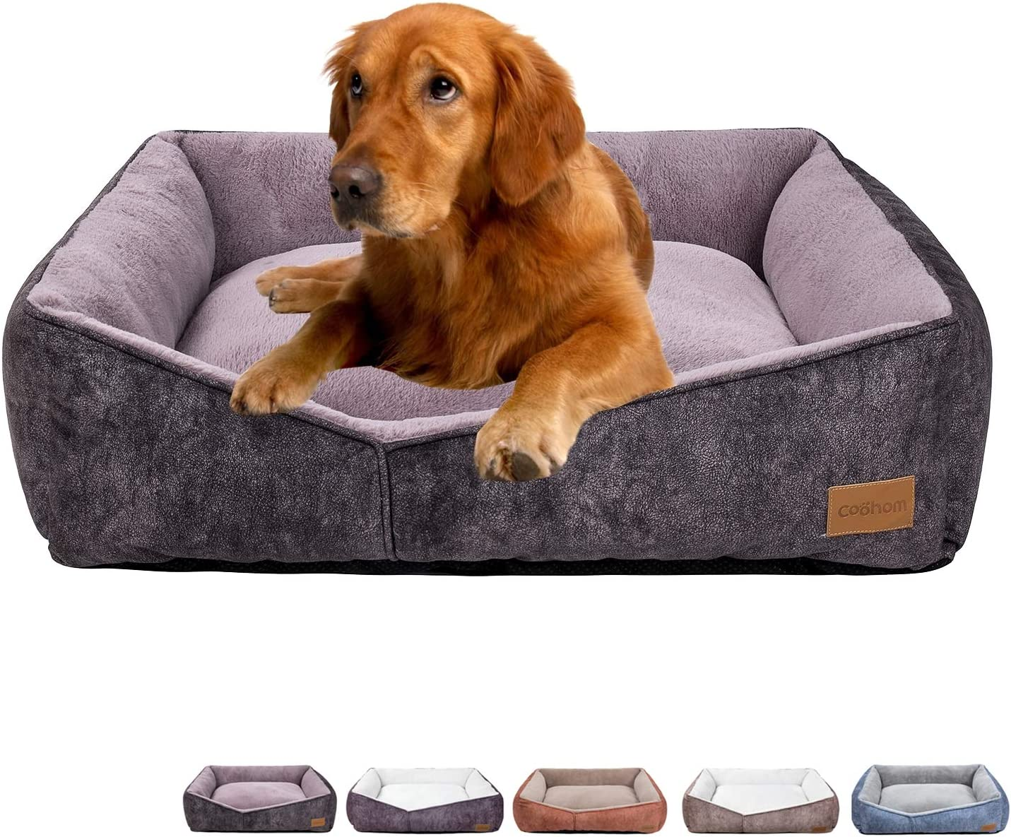 Coohom Rectangle Washable Dog Bed,Warming Comfortable Square Pet Bed Simple Design Style,Durable Dog Crate Bed for Medium Large Dogs (25 INCH, Brown)