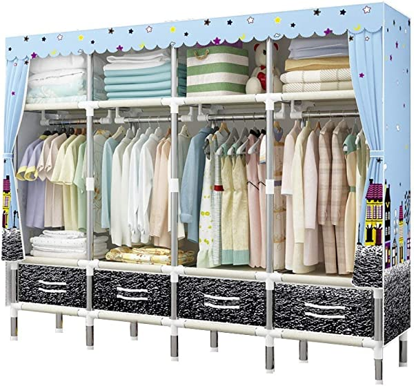 YG BY Wardrobes Closet Wardrobe Foldable Thicker Quick And Easy To Assemble Portable Closet Shelves Storage Home Bedroom Furniture 20045 170cm Color A