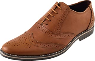 CHAMOIS Men's Formal Leather Brown Derby Shoes || Handmade Genuine Leather Shoes for Men