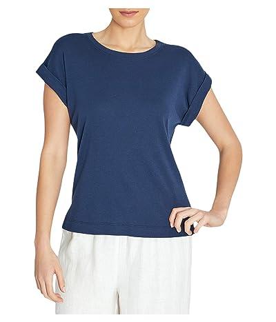 Three Dots Cotton Modal Short Sleeve Top (Night Iris) Women