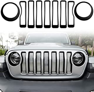 Bonbo Mesh Grille Grill Insert Headlight Turn Light Cover Trim Exterior Accessories for 2018-2021 Jeep Wrangler JL JLU & Gladiator JT (Black)