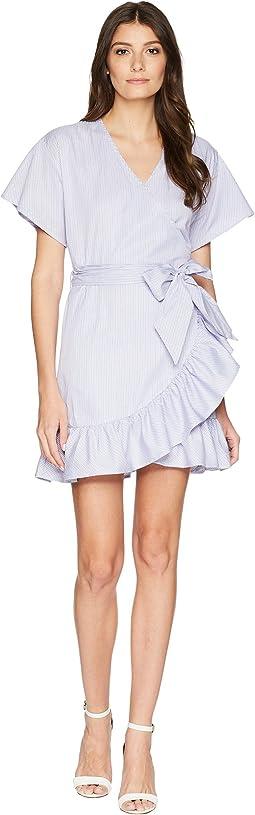 Striped Wrap Dress w/ Tie-Up Waist