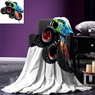 smallbeefly Cars Throw Blanket Cartoon Monster Truck Cool Vehicle Modified to the Perfection Colorful Design Warm Microfiber All Season Blanket for Bed or Couch Aqua Green Black