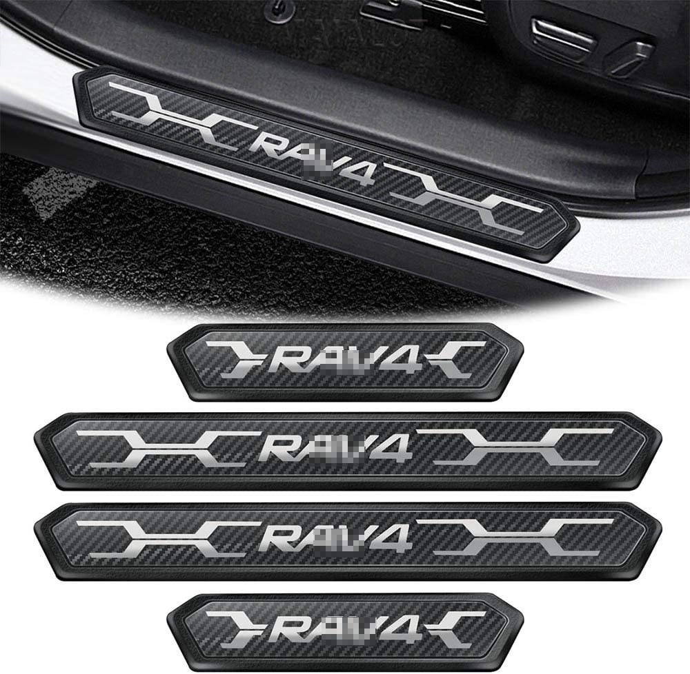 MAIALOT Door Sill Protector for Toyota Rav4 2019 2020 2021 Car Door Entry Guard Black 4 Pcs RAV4 Stainless Steel Sill Scuff Plate Protector