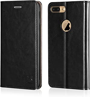 Belemay iPhone 7 Plus Wallet Case, Genuine Cowhide Leather Flip Case [Slim Fit] Folio Cover [Shockproof Soft TPU Inner Case] Card Holder Slots, Kickstand, Cash Pockets Compatible iPhone 7 Plus, Black