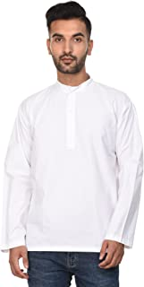 Mens Dress Cotton Kurta Shirt Long Sleeve Button Up Polo Shirt L Chest / 42 inches White