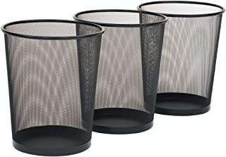Pack of 3 Round Mash Waste Basket Trash Can Recycling Bin Perfect for Home/Office Wastebasket Recycling Bin Trash Can Bin ...
