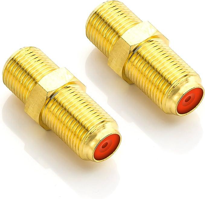 deleyCON 2X Adaptador Conector de Satélite - Extender Cable Coaxial 2X Conectores Tipo F - Cable para Instalaciones de Satélite
