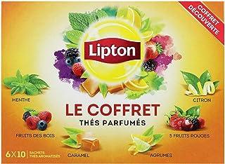 Lipton Coffret Thés Parfumés Assortiment de Thés Verts et Thés Noirs, 6 Variétés, Label Rainforest Alliance 60 Sachets