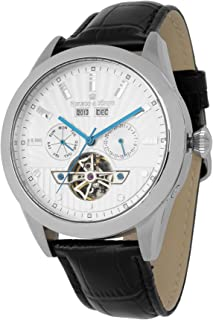 Herzog & Söhne men's automatic Watch with silver Dial analogue Display and black leather Strap HS512-112