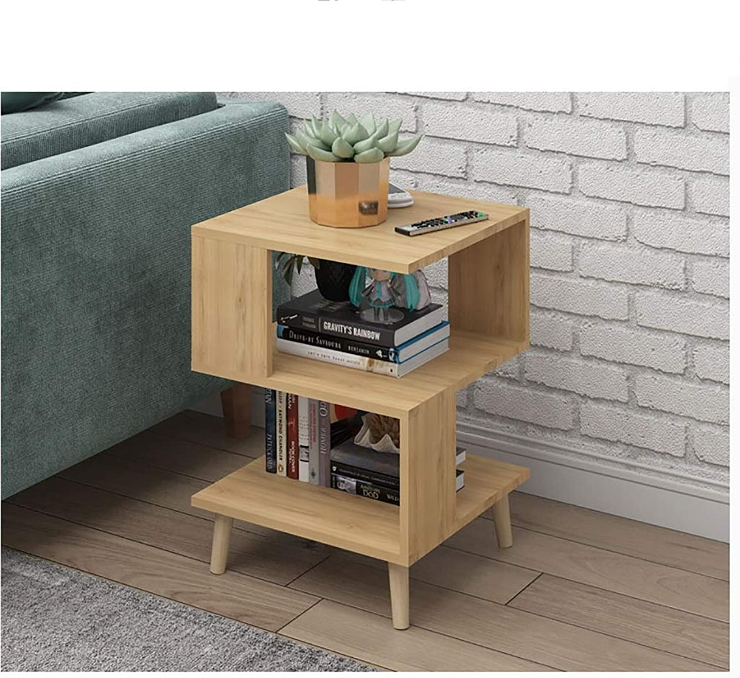Creative, Unique Square 3-Tier Shelf, Side End Table with Storage Rack, Sofa Side Table Storage Rack of Low Shelf for Bedroom Decor Living Room Furniture Small Coffee Table Bed-Side Accent Table