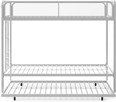 DHP Triple Metal Bunk Bed Frame, White, Twin
