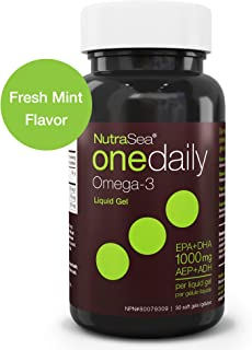 Nature's Way NutraSea One Daily Omega 3 Supplement, High Potency Liquid Gels, Fresh Mint, 30 Soft Gels