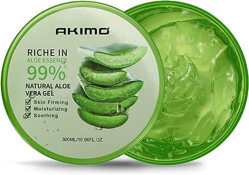 300 ML Gel d'Aloe Vera Bio - AKIMO Crème Hydratante Naturelle, Hydratant pour Visage Corps Cheveux, Soins pour les Co...