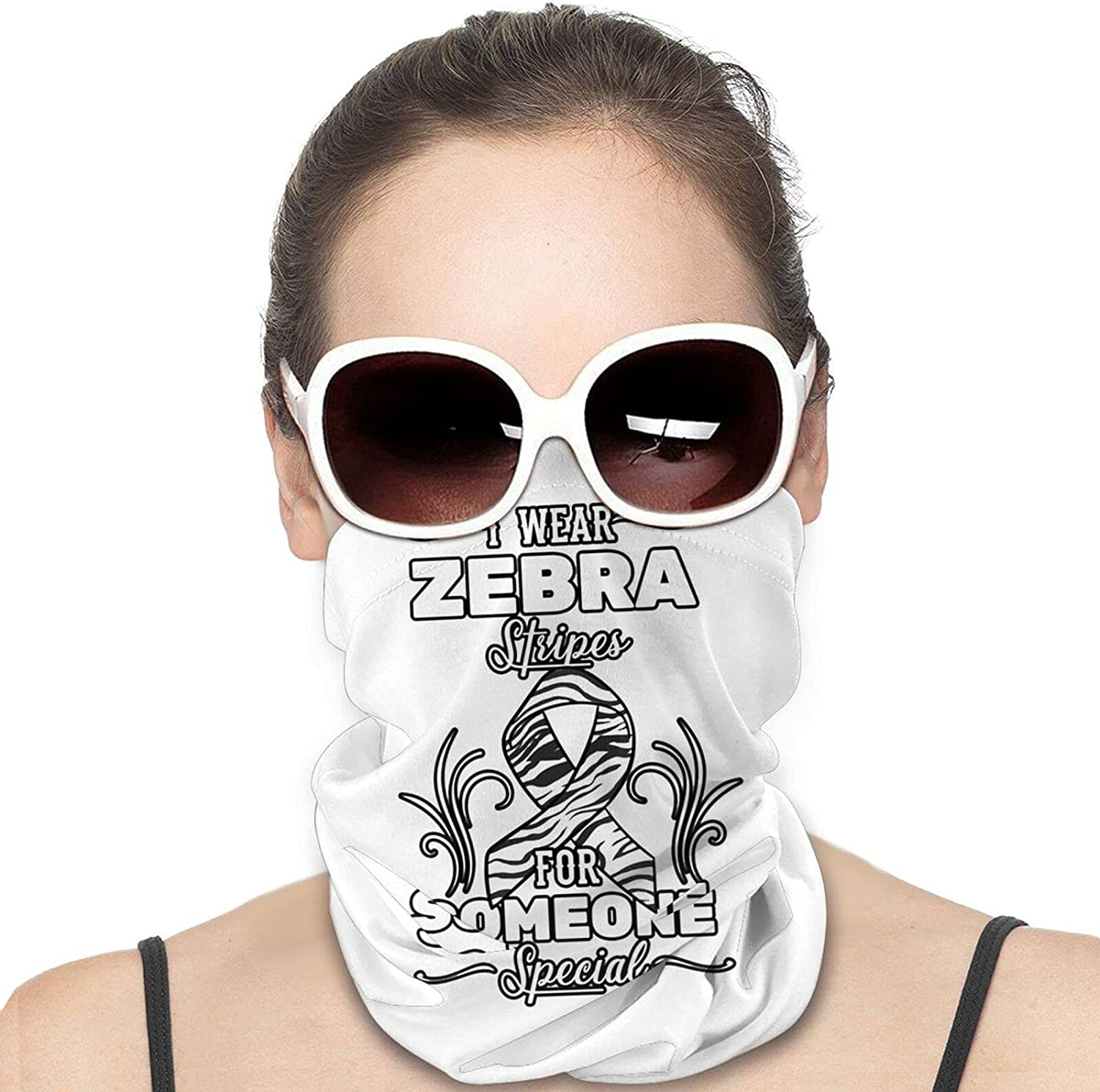 I Wear Zebra Stripe For Someone Special Round Neck Gaiter Bandnas Face Cover Uv Protection Prevent bask in Ice Scarf Headbands Perfect for Motorcycle Cycling Running Festival Raves Outdoors