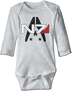 GOOOET Unisex Baby Bodysuit Mass Effect Alliance N7 Logo Long-Sleeve Romper T-Shirt