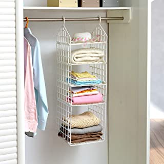 GETKO WITH DEVICE 5 Layer Folding Clothes Storage Racks Dormitory Closet for Students Wardrobe Shelves Hanging Organizer Storage Holders & Racks - White