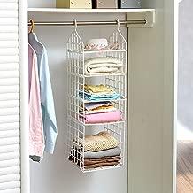 GETKO WITH DEVICE 5 Layer Folding Clothes Storage Racks Dormitory Closet for Students Wardrobe Shelves Hanging Organizer Storage Holders & Racks - White